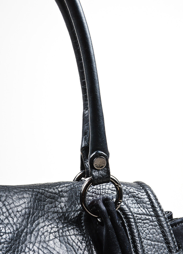 "Black Moschino Satin and Leather Padlock Top Handle ""Muffin"" Satchel Bag Detail 2"