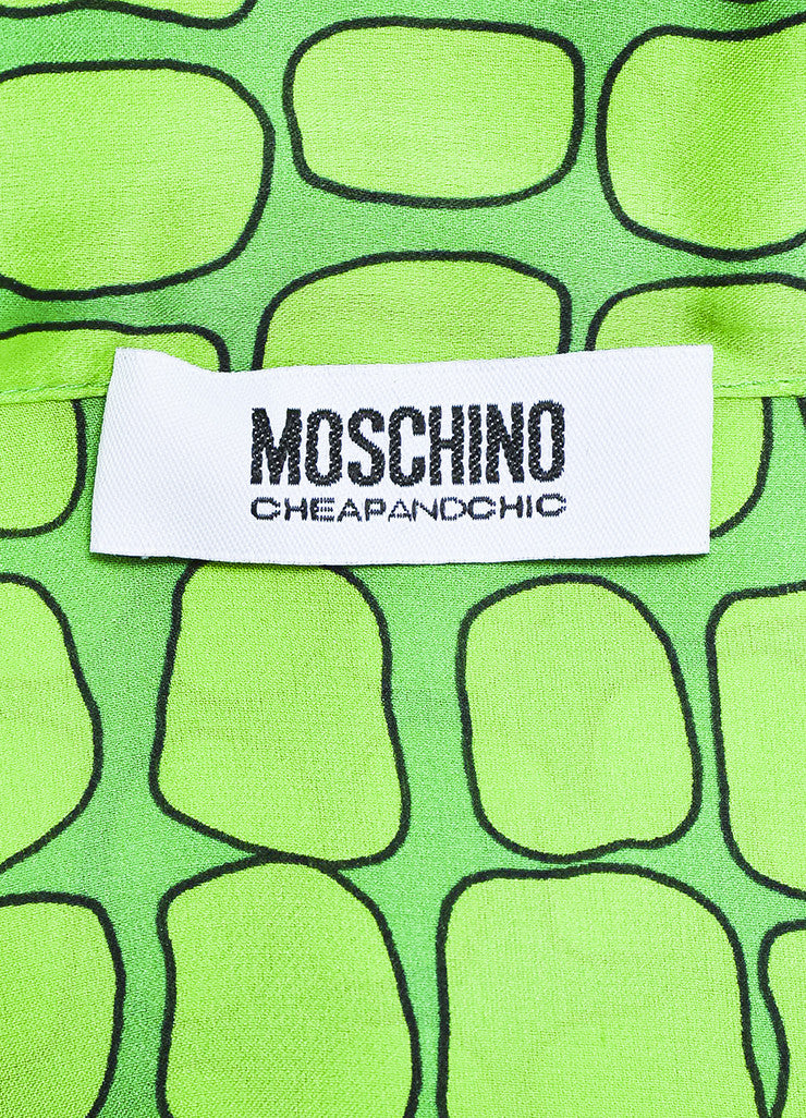 Green Moschino Cheap and Chic Silk Printed Neck Tie Sleeveless Dress Brand