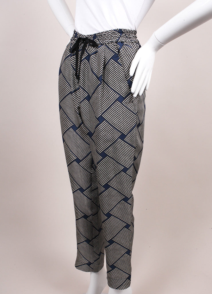 Odeeh New With Tags Blue, Black, and White Stripe Print Silk Lounge Pants Sideview