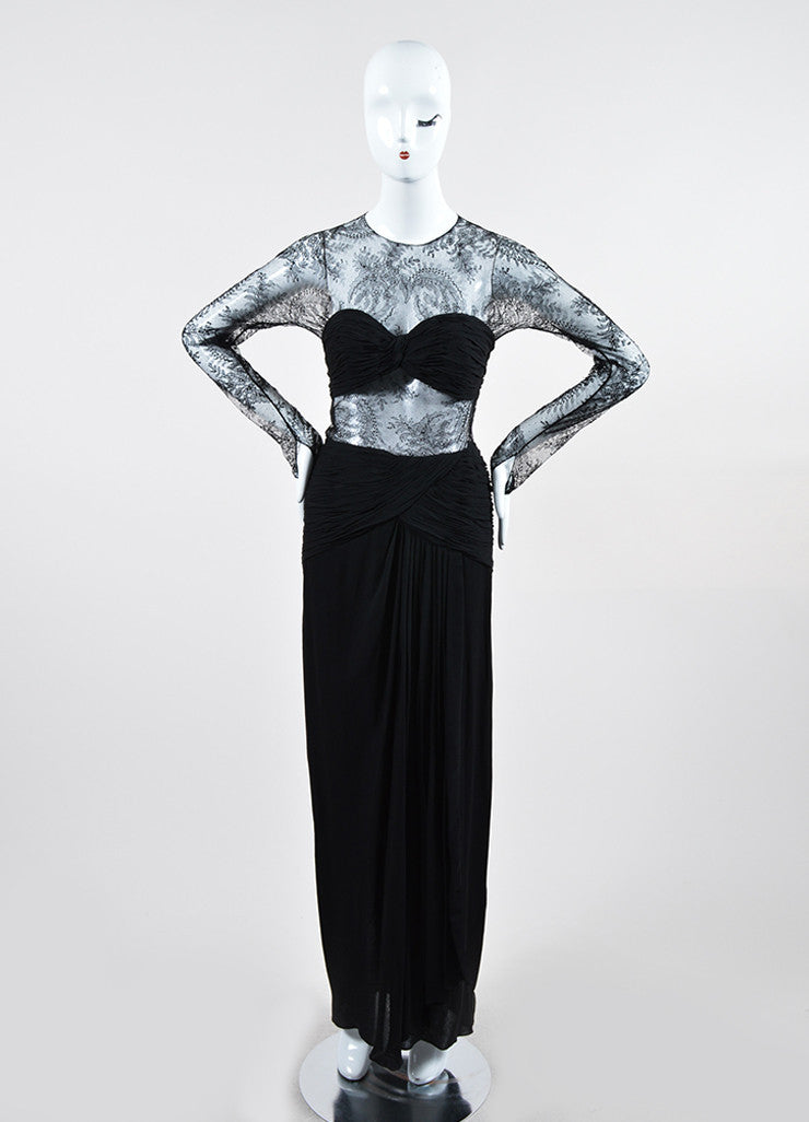 Black Oscar de la Renta Floral Lace Sheer Sleeve Cut Out Gown Frontview