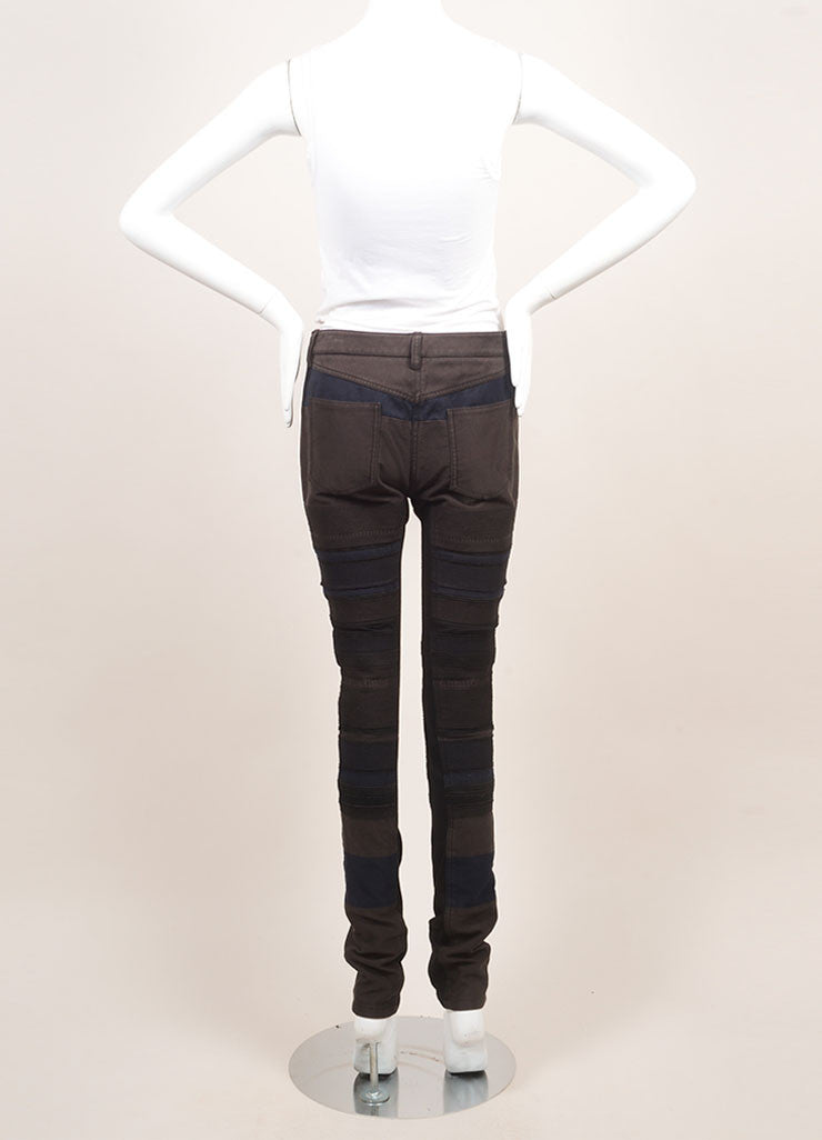 3.1 Phillip Lim New With Tags Black and Grey Cotton Knit Trim Patchwork Skinny Pants Backview