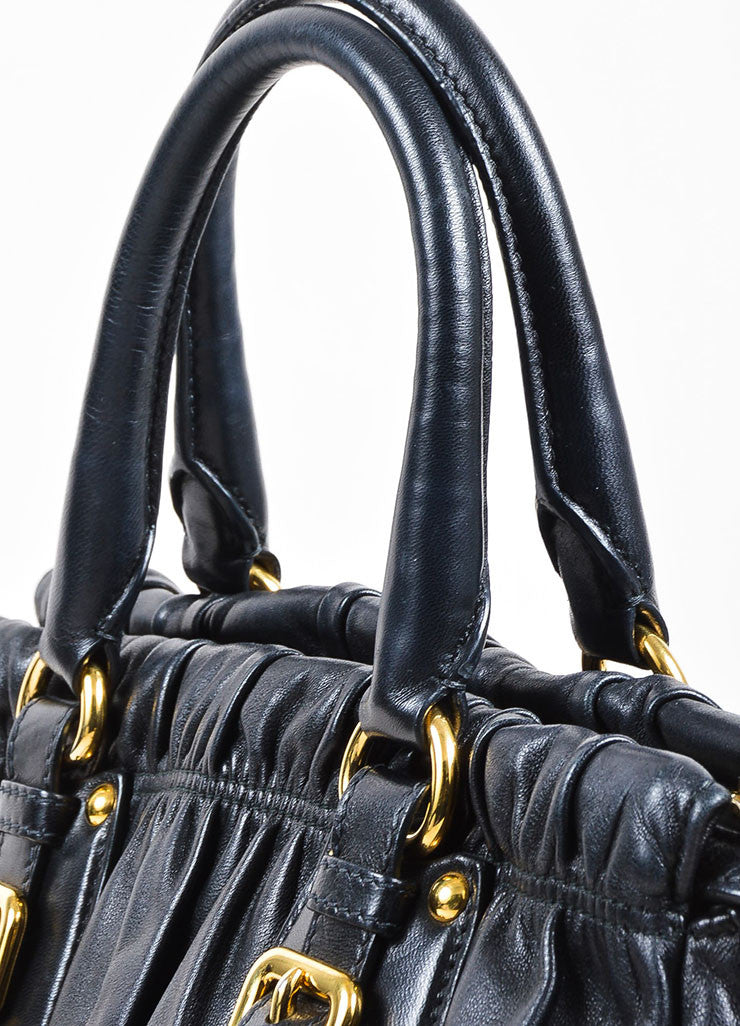 Prada Black Gaufre Leather Gold Toned Dual Handle Ruched Satchel Bag Detail 2