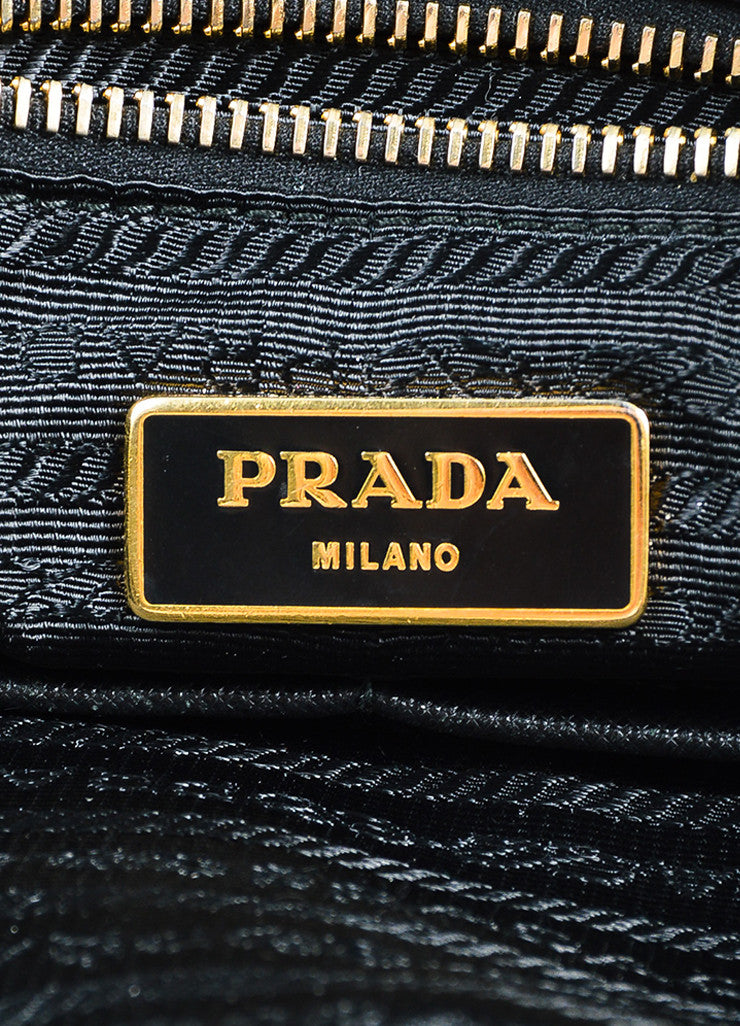 "Prada Black and Gold Toned Tessuto Nylon Zip Diaper ""Baby Bag"" Tote Bag Brand"
