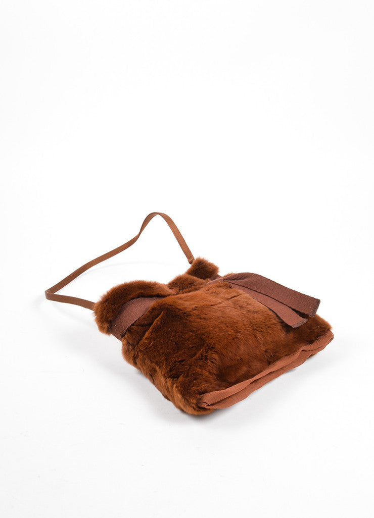 Prada Brown Fur Chiffon Mini Handbag Bottom