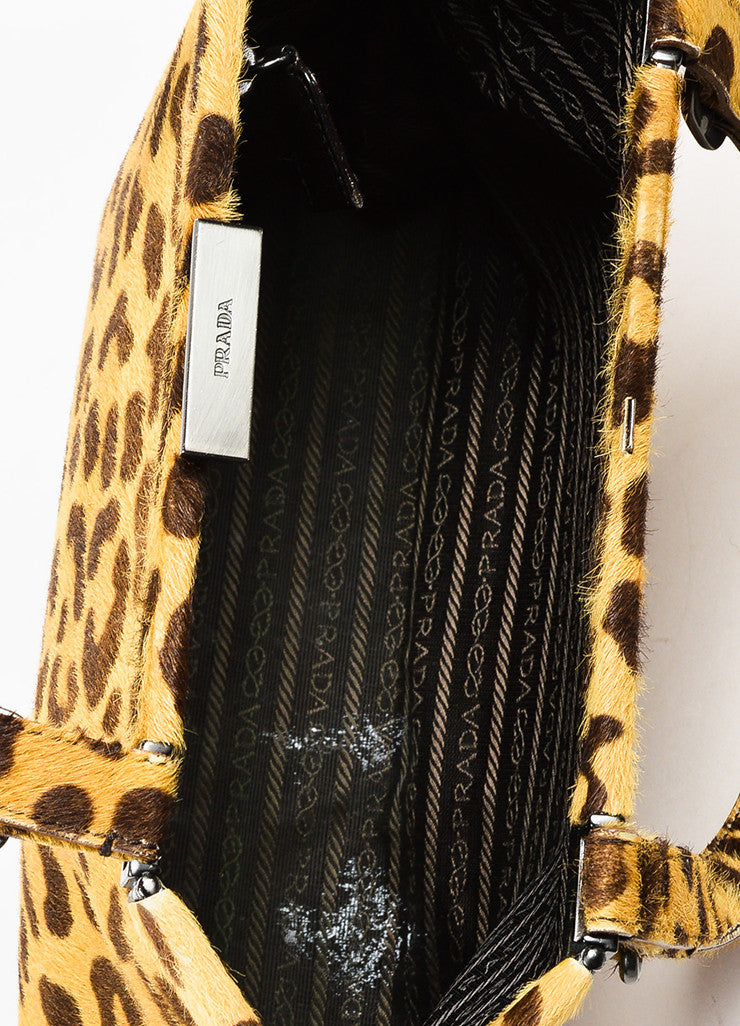 Prada Brown Tan Prada Leopard Print Pony Hair Top Handle Frame Bag Detail 4