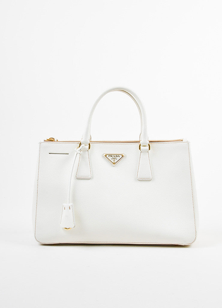 "Cream-White Prada Leather ""Saffiano Lux Small Double Zip"" Tote Handbag Frontview"