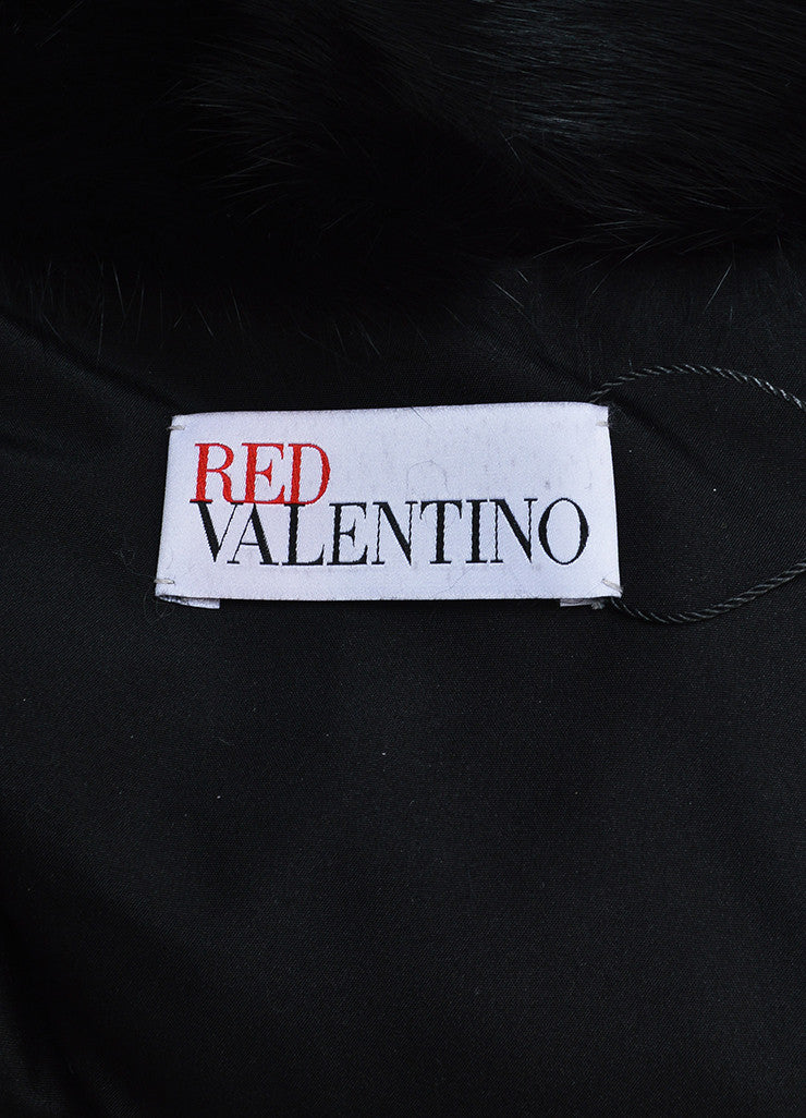 Black Red Valentino Rabbit Fur Cap Sleeve Cropped Jacket Brand