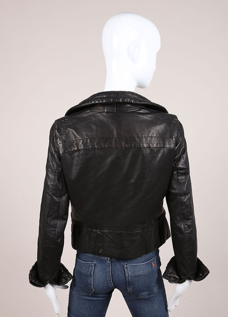 Rick Owens Black Leather Zip Jacket Backview