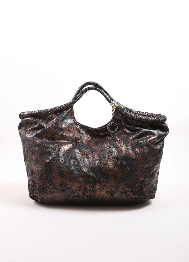 Stella McCartney Black and Bronze Faux Cracked Suede Leather Tote Bag Frontview