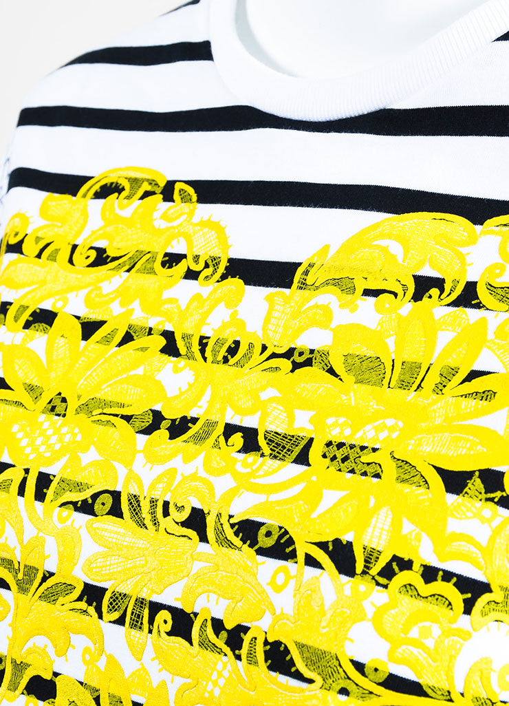 Stella McCartney White, Black, and Yellow Striped Heart Short Sleeve Crew Neck T-Shirt Detail