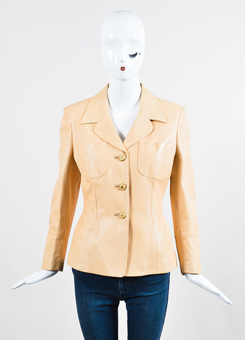 Beige Nude Celine Lambskin Leather Buttoned Blazer Jacket Frontview 2