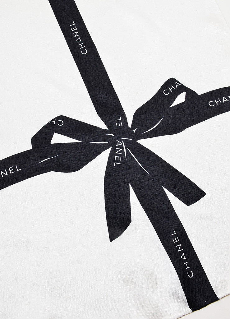 Chanel Cream and Black Textured Silk Bow Print Square Scarf Detail