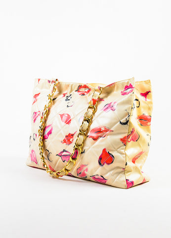 Chanel Cream Quilted Lip Print 'CC' Stitched Gold Hardware Chain Bag Back
