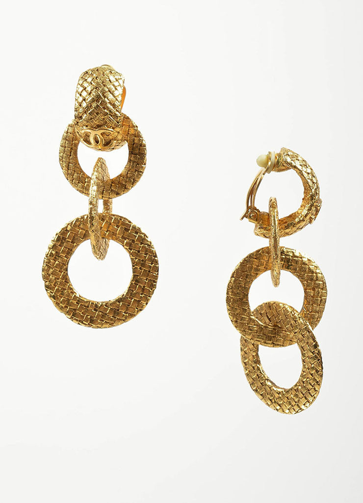 "Gold Toned Woven Chanel 'CC' ""Day to Night"" Convertible Clip On Earrings Sideview"