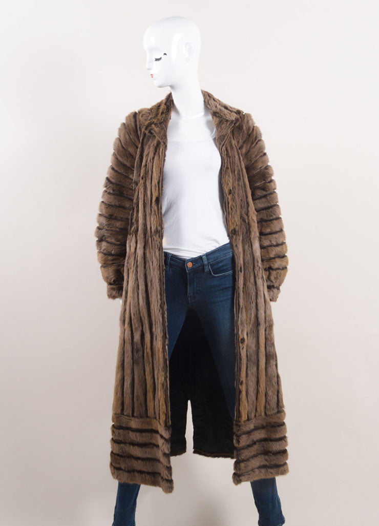 Vintage Brown Fur Striped Panel Long Coat Frontview