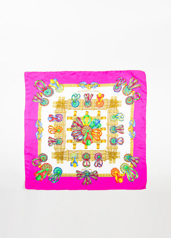"Hermes Magenta Multicolor Silk Printed ""Le Rubans Du Cheval"" Scarf Frontview 2"