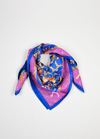 "Multicolor Hermes Bird and Flower ""Pierres d'Orient et d'Occident"" Scarf Frontview"