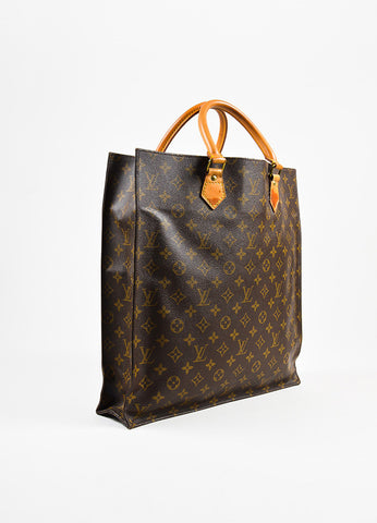 "Louis Vuitton Brown and Tan Coated Canvas Monogram ""Sac Plat"" Tote Bag Sideview"