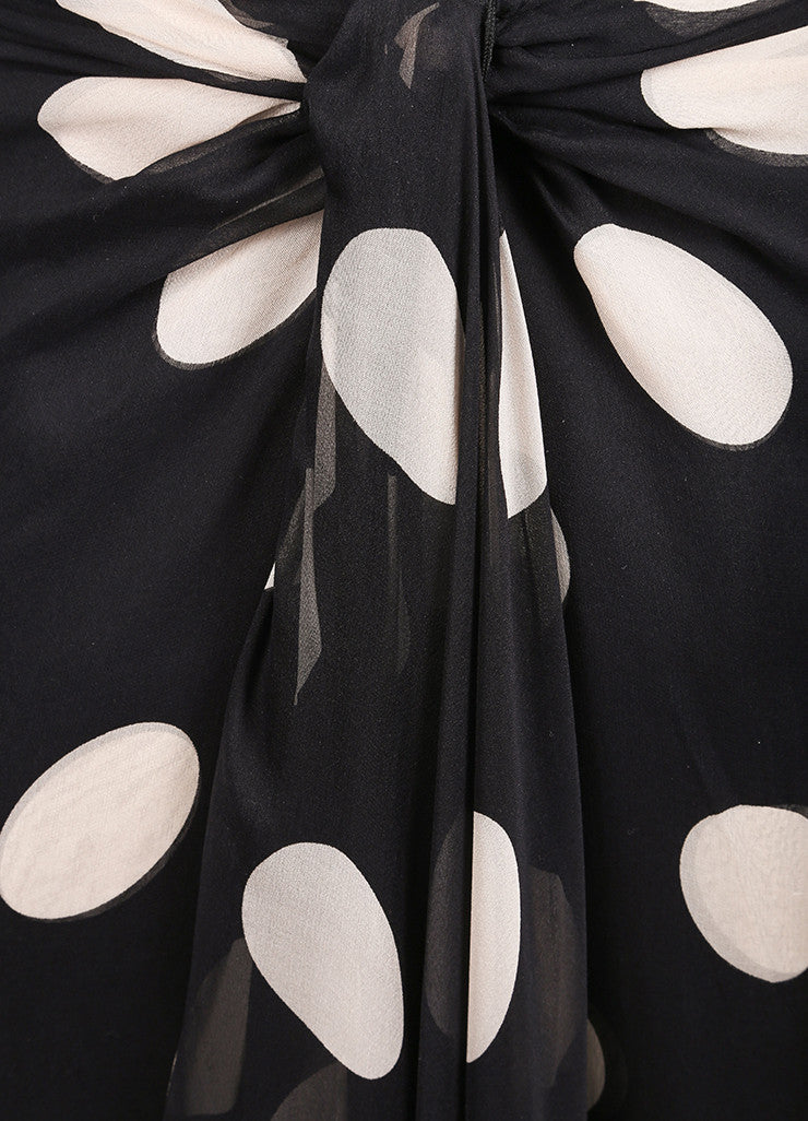 Valentino Black and Beige Chiffon Polka Dot Draped Strapless Gown Detail