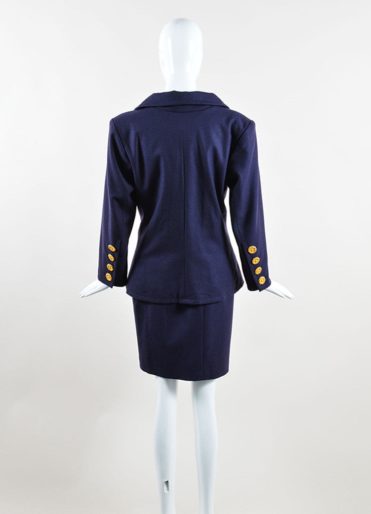 Yves Saint Laurent Navy Wool Jacket and Pencil Skirt Suit Backview