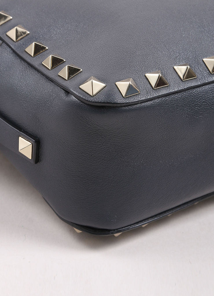 "Valentino Grey and Gold Toned Leather ""Rockstud"" Crossbody Bag Detail"