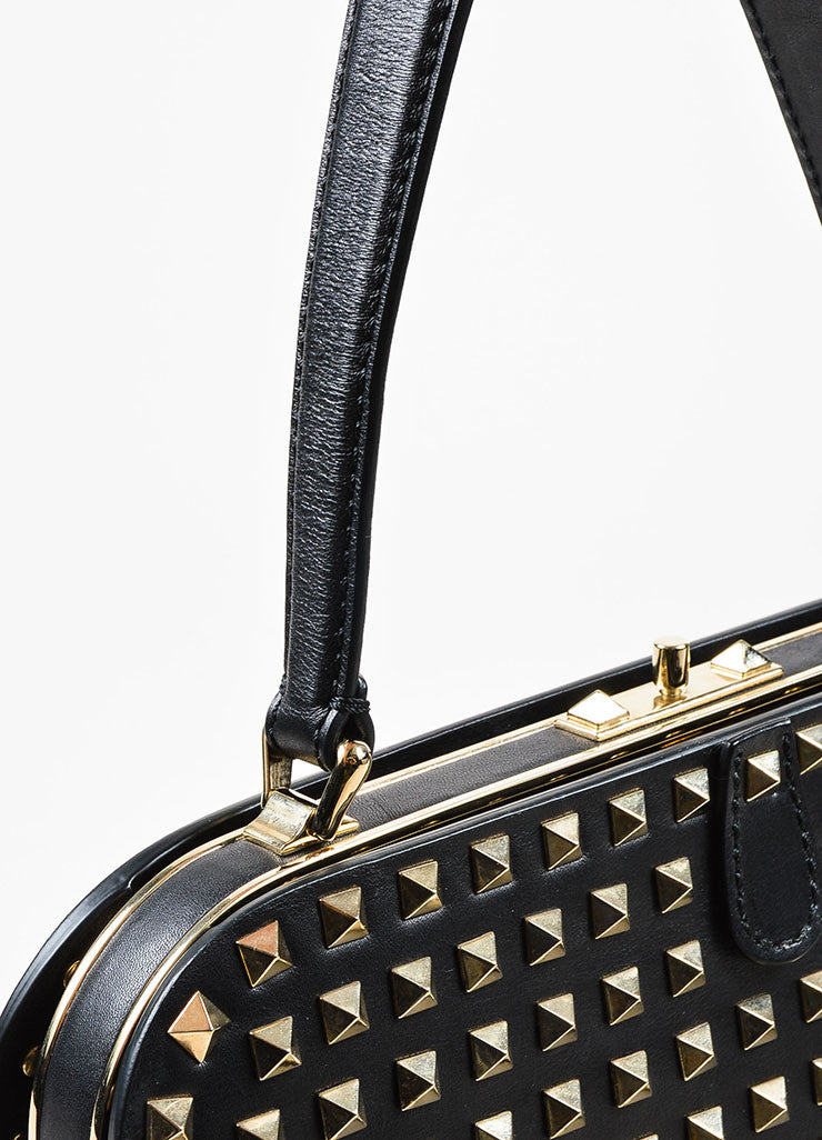 "Valentino Noir Black Leather Pyramid Studded ""Rockstud"" Frame Handbag Detail 2"