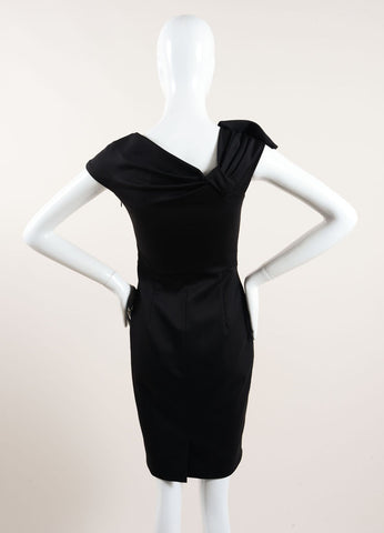 Valentino Black Ruched Bow Cap Shoulder Sheath Dress Backview