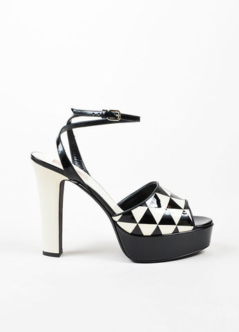 "Black and Cream Valentino Patent Geometric Platform ""Domino"" Sandals Sideview"