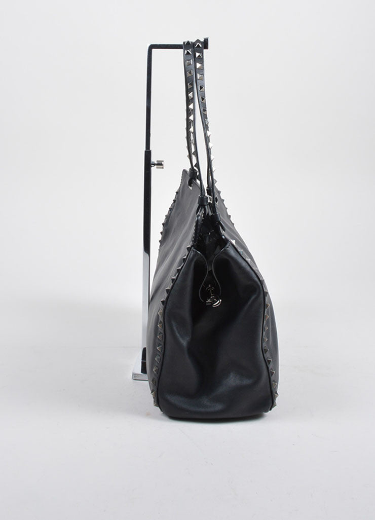 "Valentino Noir Black Leather Pyramid Spike Studded ""Rockstud"" Shoulder Tote Bag"