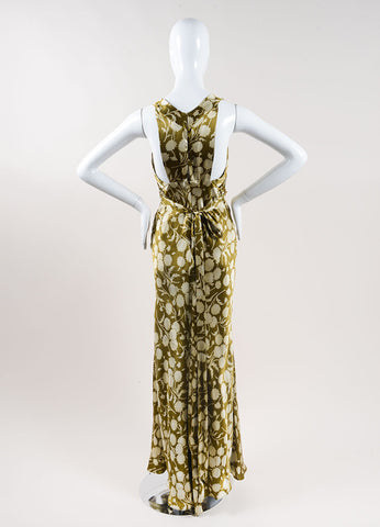 Vera Wang Green and Cream Silk Floral Print Sequin Trim Sleeveless Maxi Dress Backview