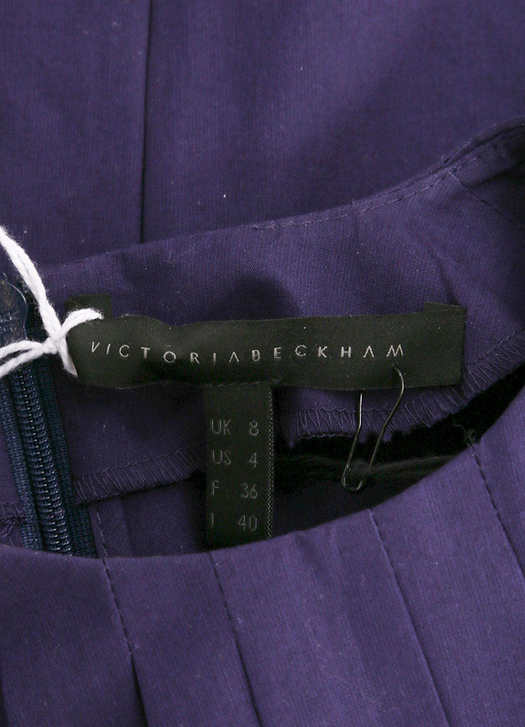 Victoria Beckham New With Tags Purple Cotton Pleated Wide Sleeve Top Brand