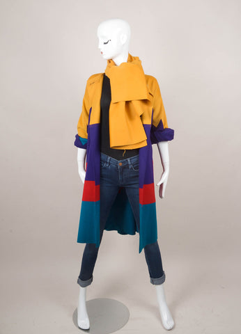 Colorblock Jacket With Scarf