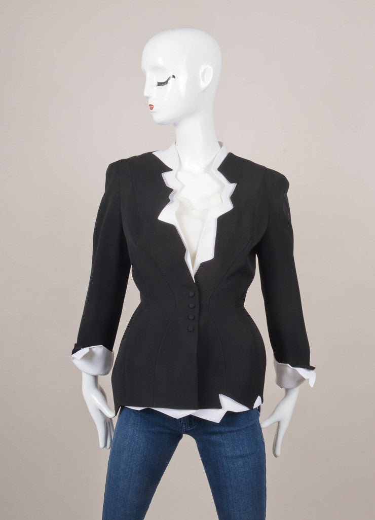 Black and White Jacket and Sleeveless Top Set
