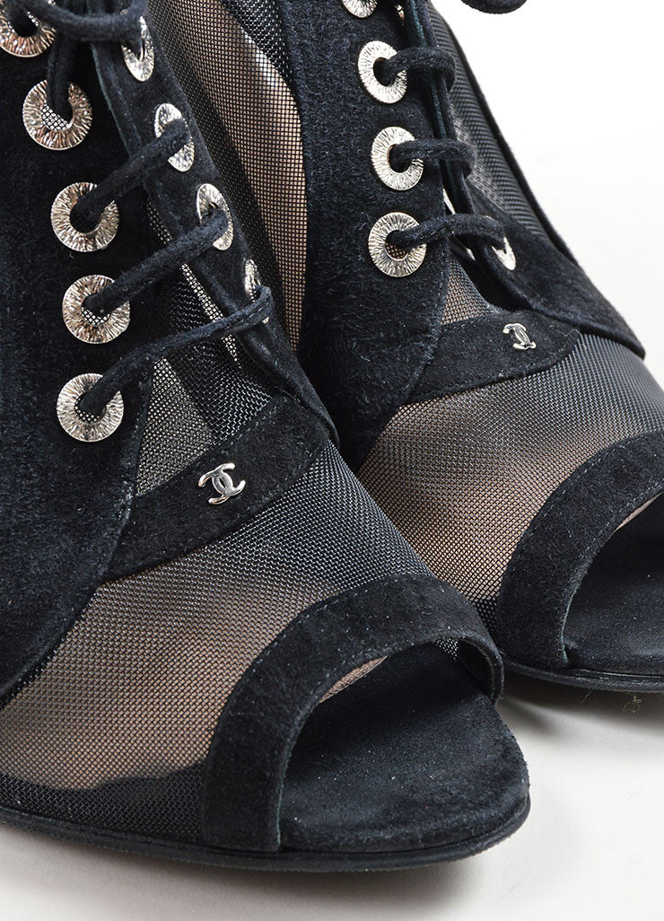 Black Chanel Suede Mesh Lace Up Peep Toe Slingback Sandal Booties Detail