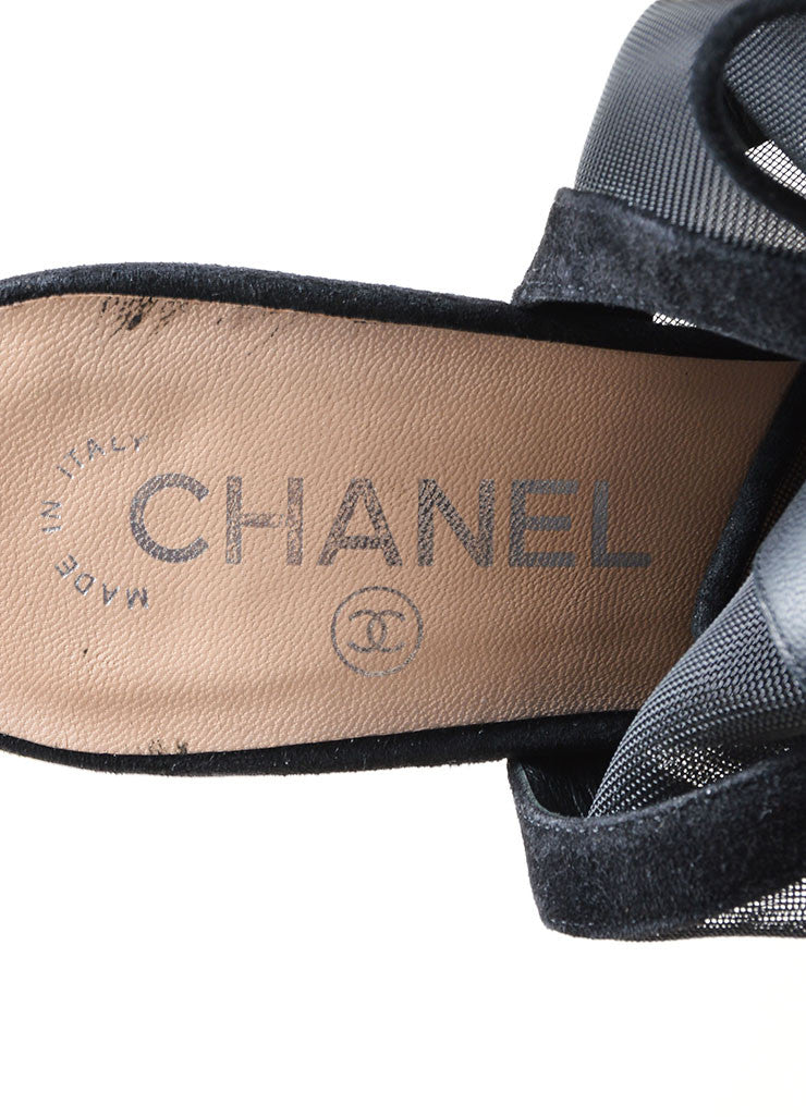 Black Chanel Suede Mesh Lace Up Peep Toe Slingback Sandal Booties Brand