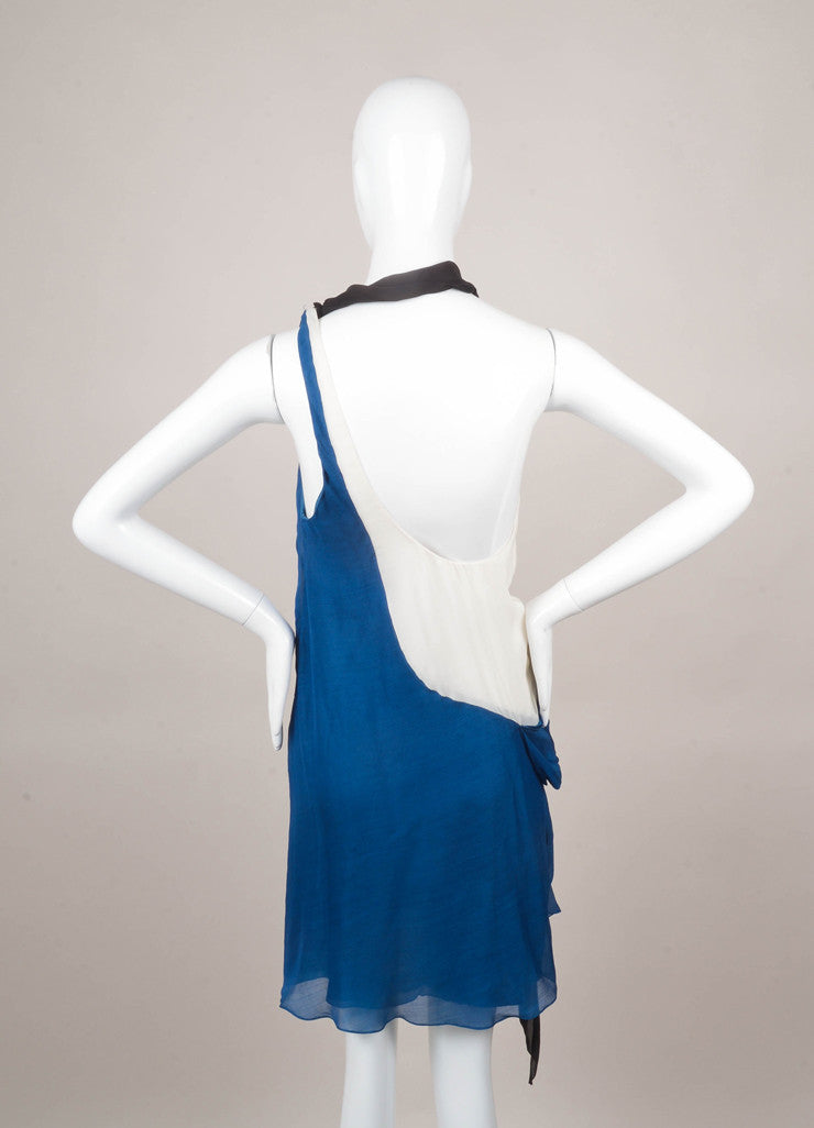 Blue and Black Nina Ricci Colorblock Asymmetric Drape Silk Dress