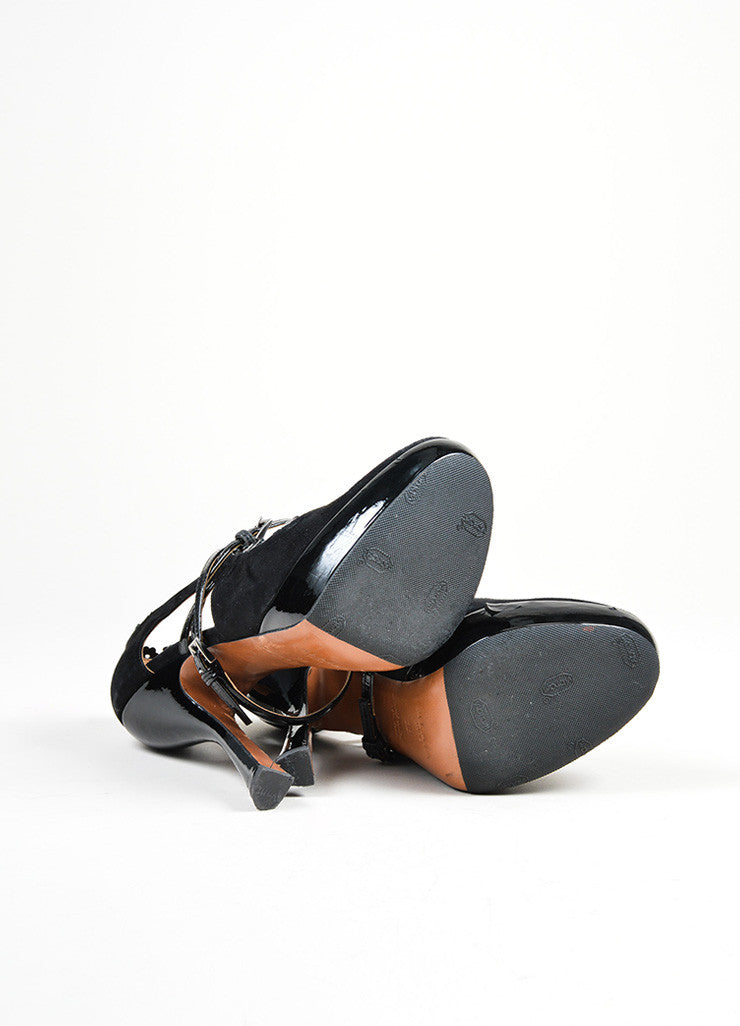 Black Alaia Suede and Patent Leather High Heel Mary Jane Platform Pumps Outsoles