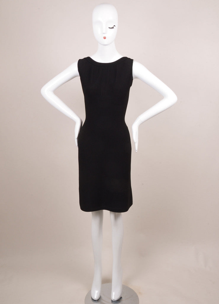 Alaia Black Knit Ribbed Sleeveless Bodycon Dress Frontview