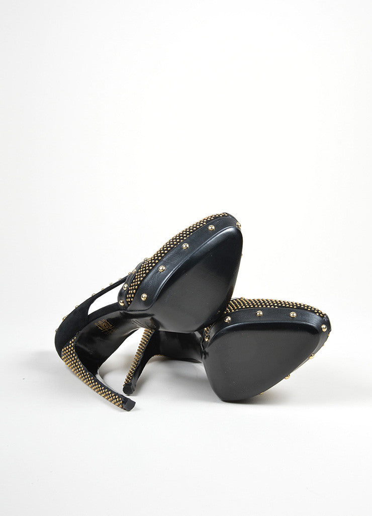 Black and Gold Alexander McQueen Leather Studded Platform Pumps Outsoles