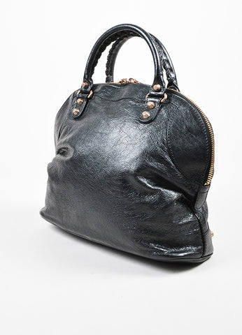 "Balenciaga Black Leather Studded ""Giant 12 Rosegold Thulian Bowler"" Bag Sideview"