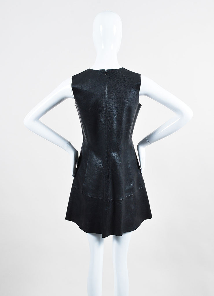 Black Balenciaga Buffalo Grained Leather Sleeveless Paneled Fit and Flare Dress Backview