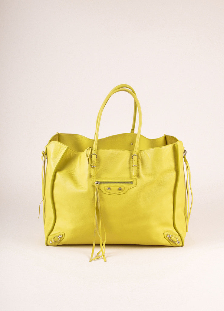 "Balenciaga Citron Leather ""Papier A4"" Side Zip Tote Bag Frontview"