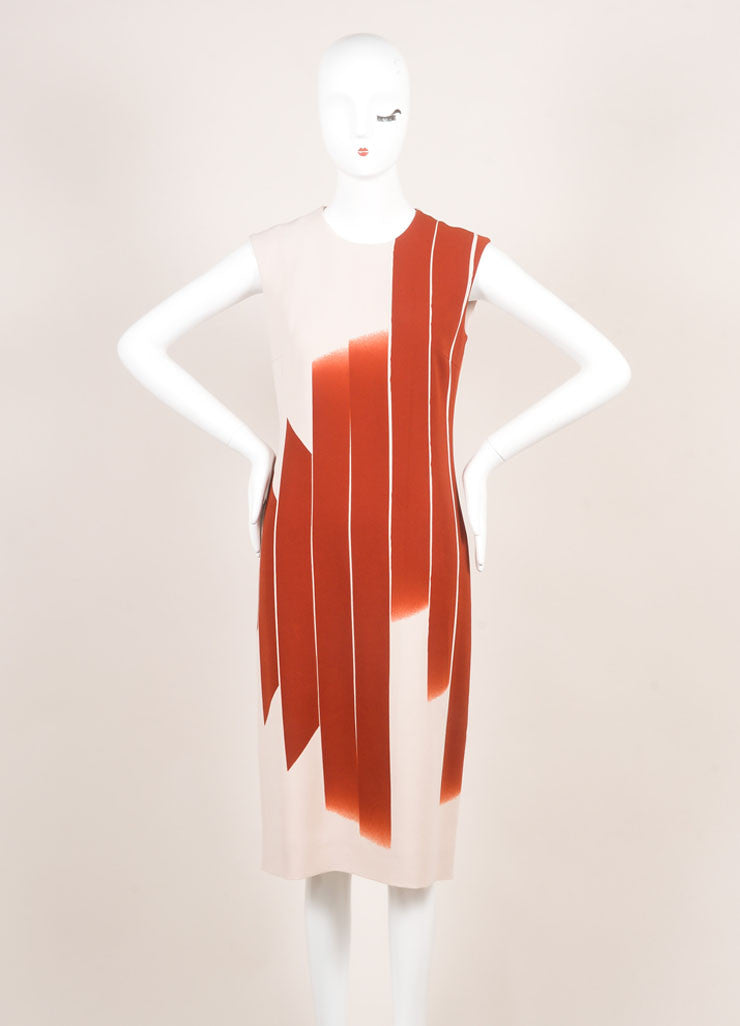 "Bottega Veneta New With Tags Red and Beige ""Faded Lines"" Printed Sleeveless Sheath Dress Frontview"