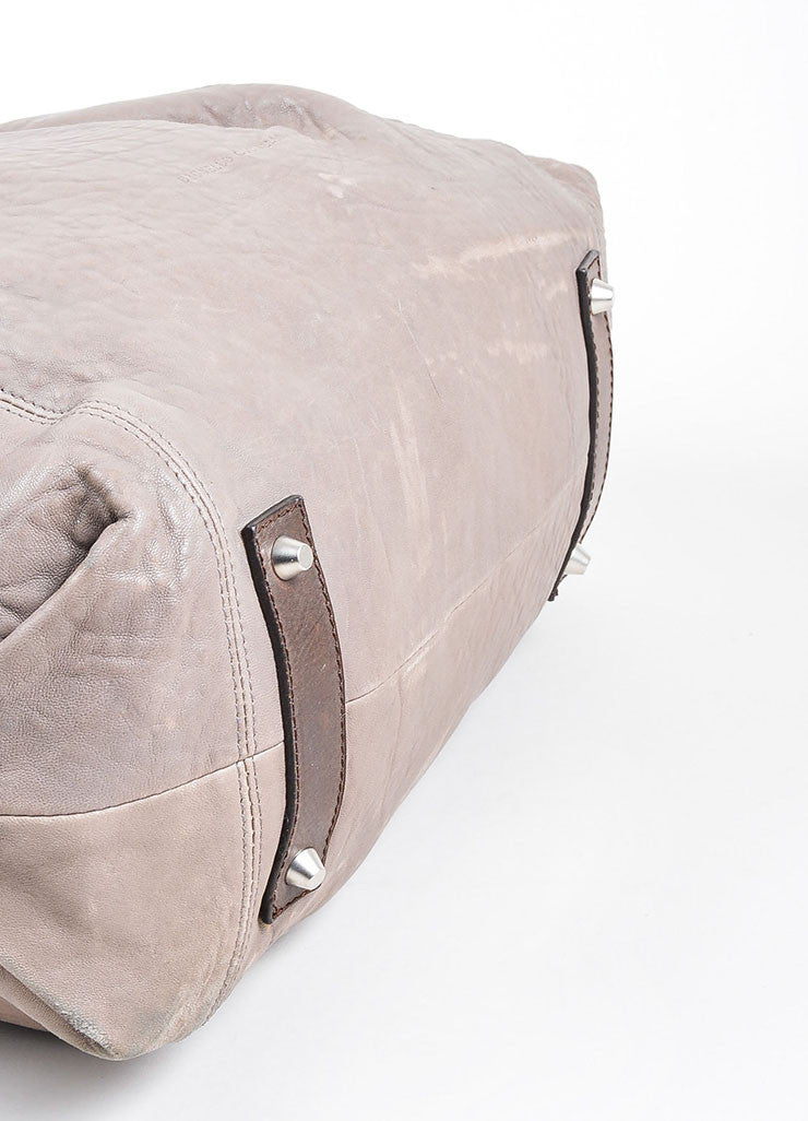 Grey Brunello Cucinelli Leather Expandable Tote Bag Bottom View