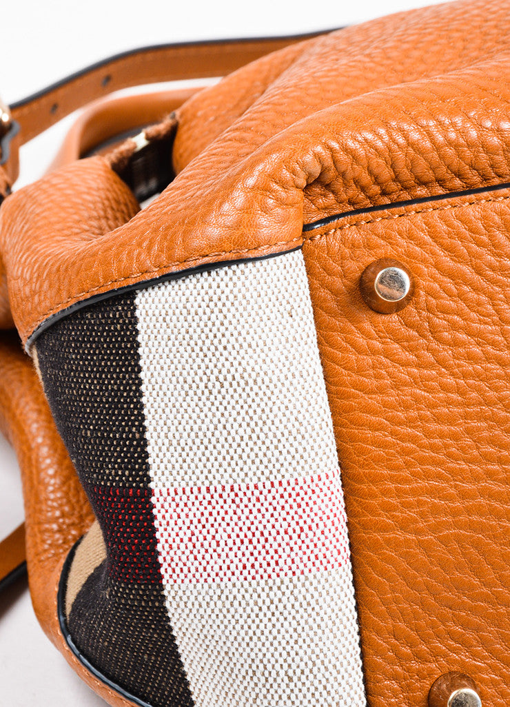 "Burberry Saddle Brown Leather Nova Check Canvas ""Small Maidstone"" Tote Bag Detail"