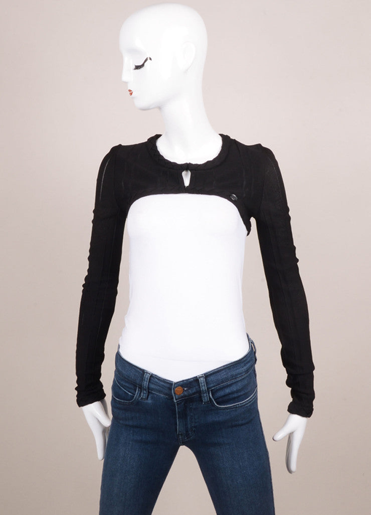 Chanel Black Knit Braided Trim Long Sleeve Cropped Shrug Frontview