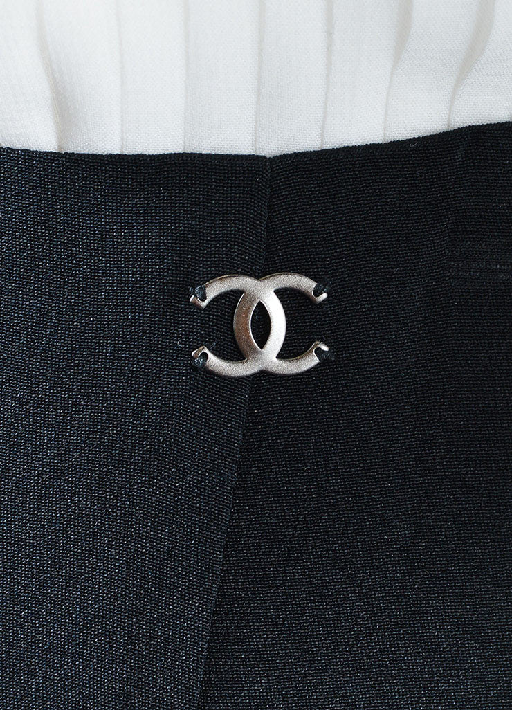 Chanel Black Silk Wide Leg Trouser Pants Detail