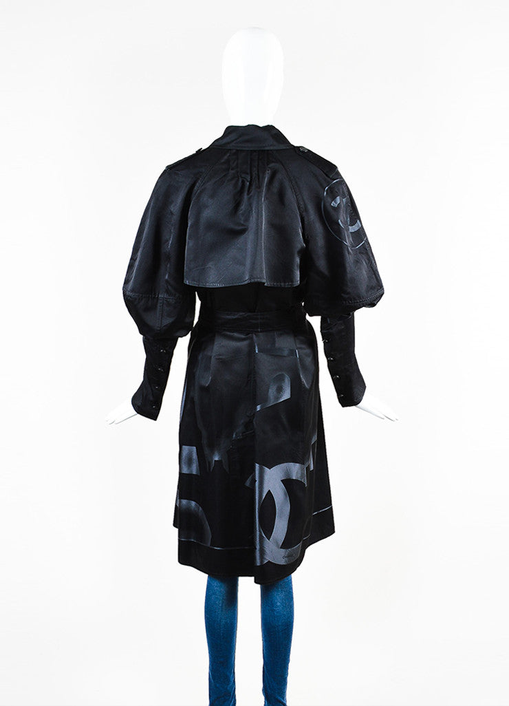 Chanel Black Silk Airbrushed 'CC' Skyline Double Breasted Trench Coat Backview