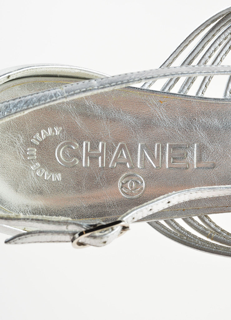 "Silver Chanel Leather Woven Knotted ""CC"" Flat Thong Sandals"