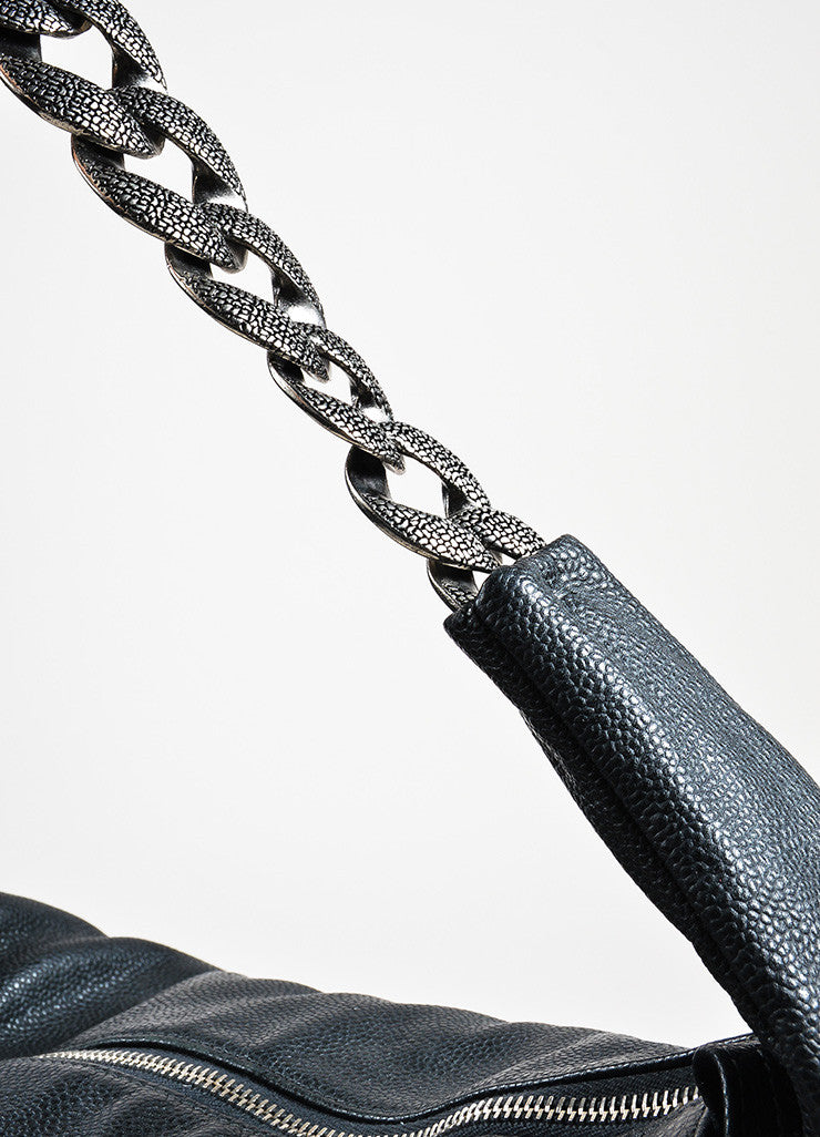 "Black Chanel Leather ""Caviar 31"" Chain Handle Hobo Bag Strap"